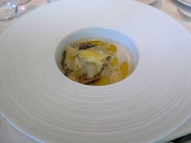 Duck liver raviolli w truffles and Parmesan